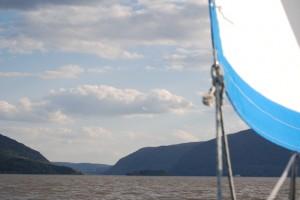sailing towards Storm King Mountain